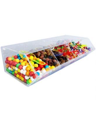 Présentoir alimentaire plexiglas 4 compartiments